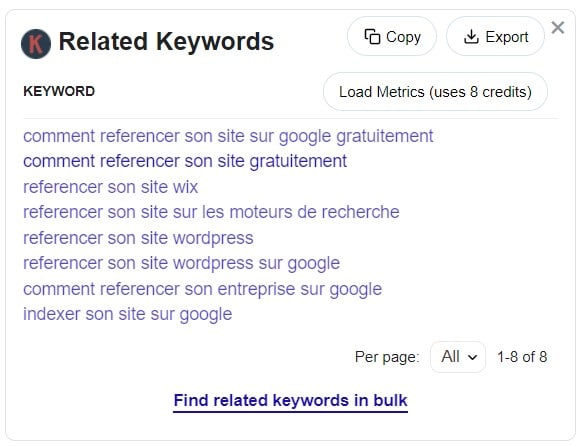 Comment référencer son site sur Google - Related keywords