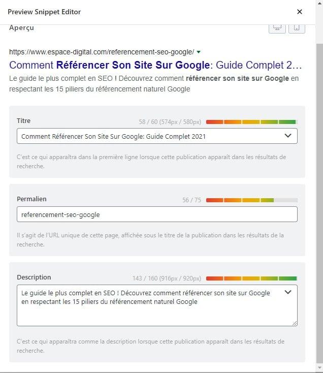 Comment référencer son site sur Google - Snippet Editor de Rank Math